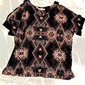 V neck paisley print short sleeve top